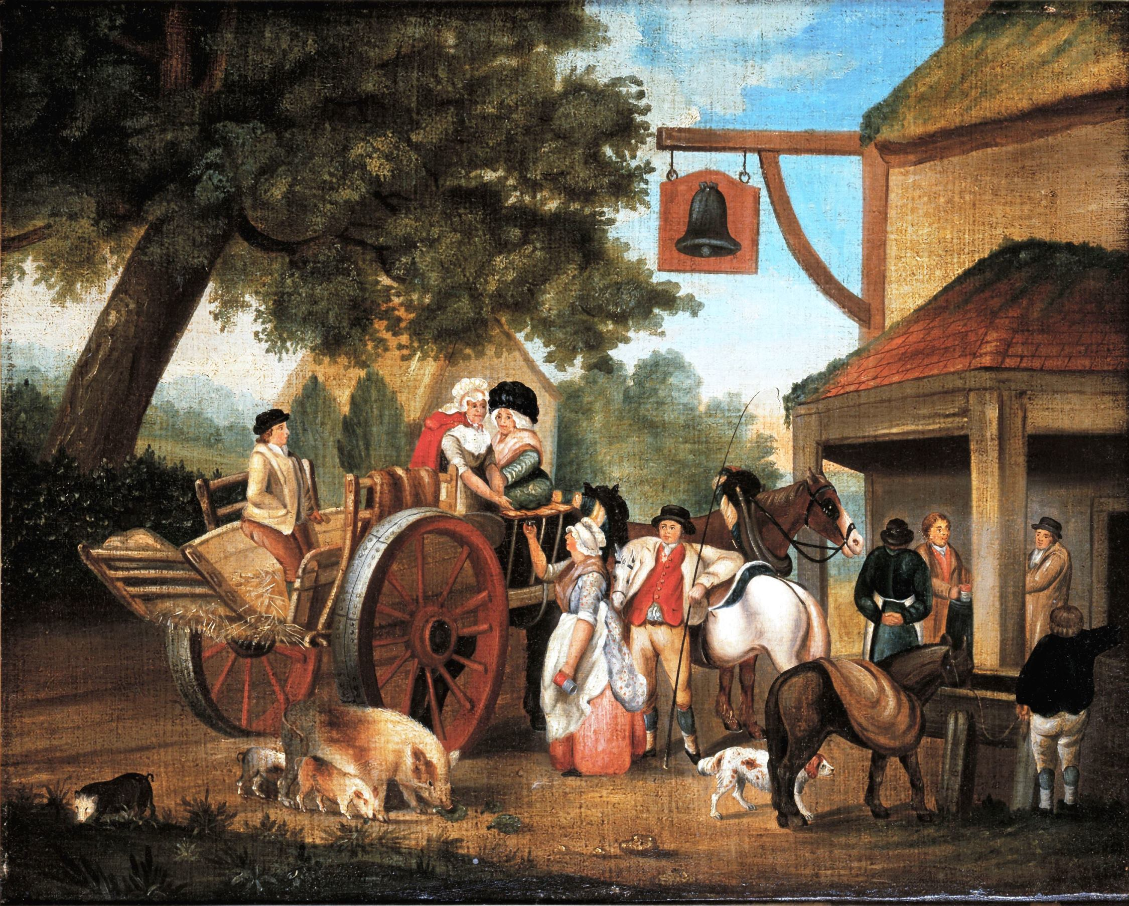 Framed image of rural tavern scene