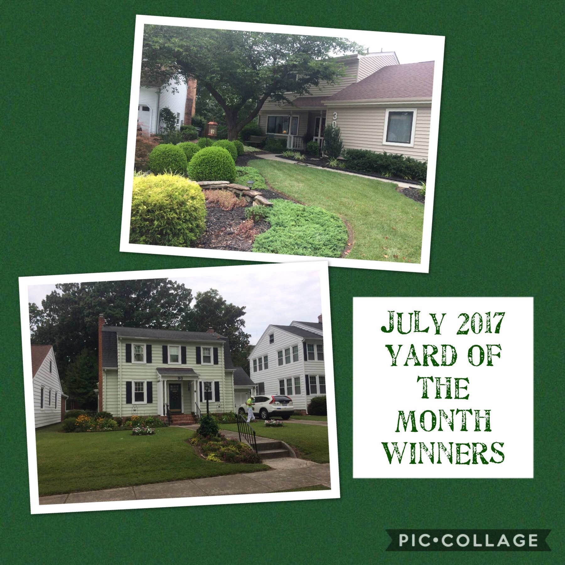 July 2017 Winners Yards Contest Beautification Committee Hampton Clean City Commission