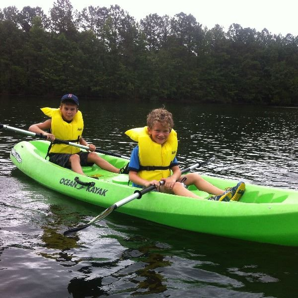noah and ben kayaking