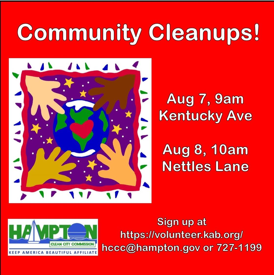 August 7 Cleanup Kentucky Avenue August 7 9am;  Nettles Lane Cleanup August 8 10am