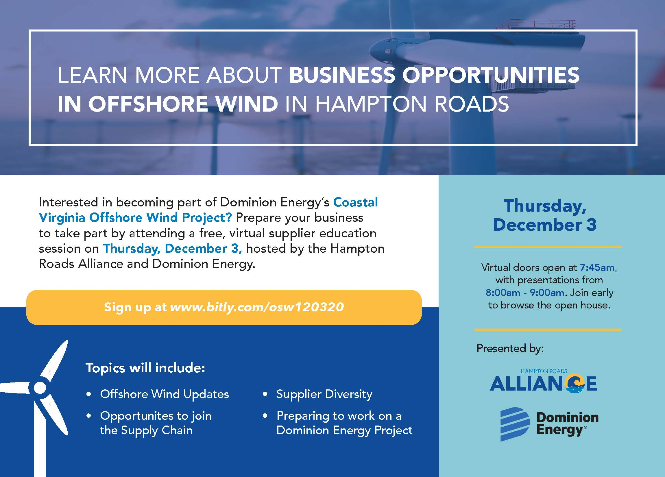 Offshore Wind Supplier Readiness Event- Hampton Roads