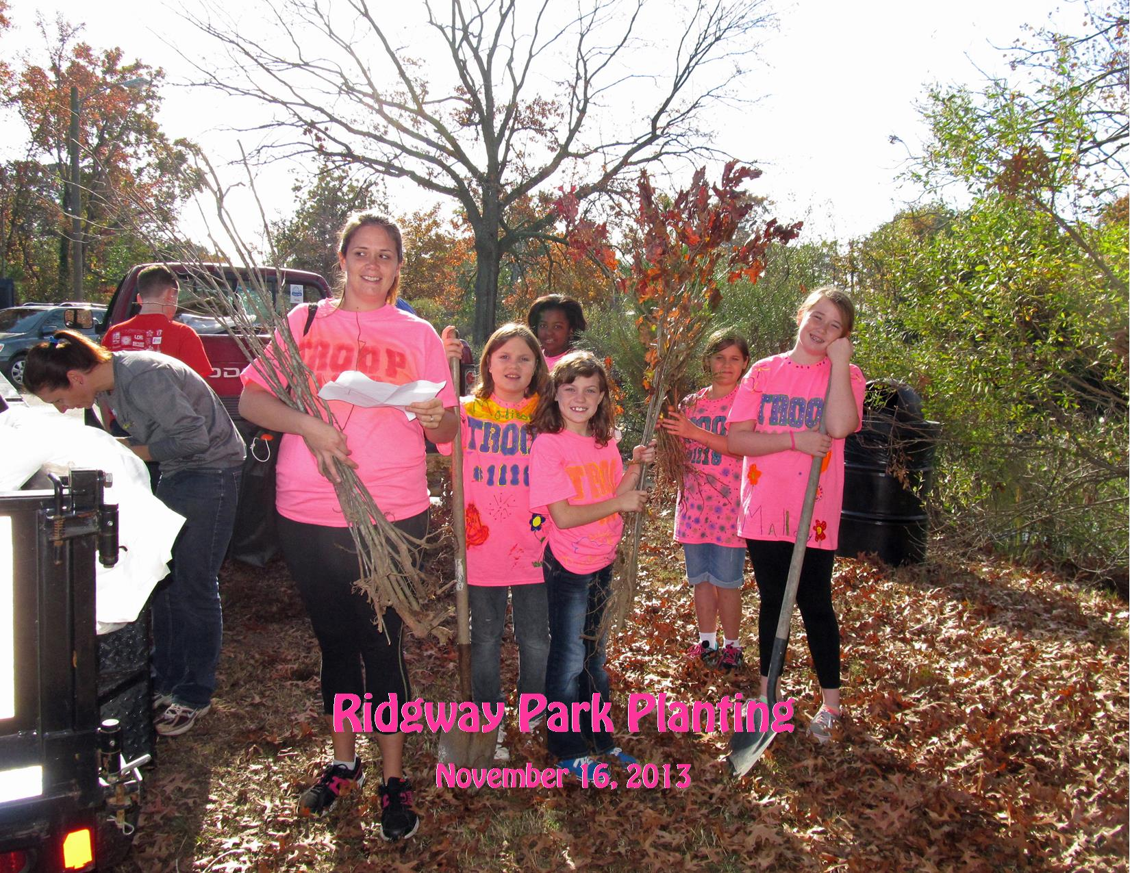 11-16-13 Ridgway Park Tree Planting Girl Scouts