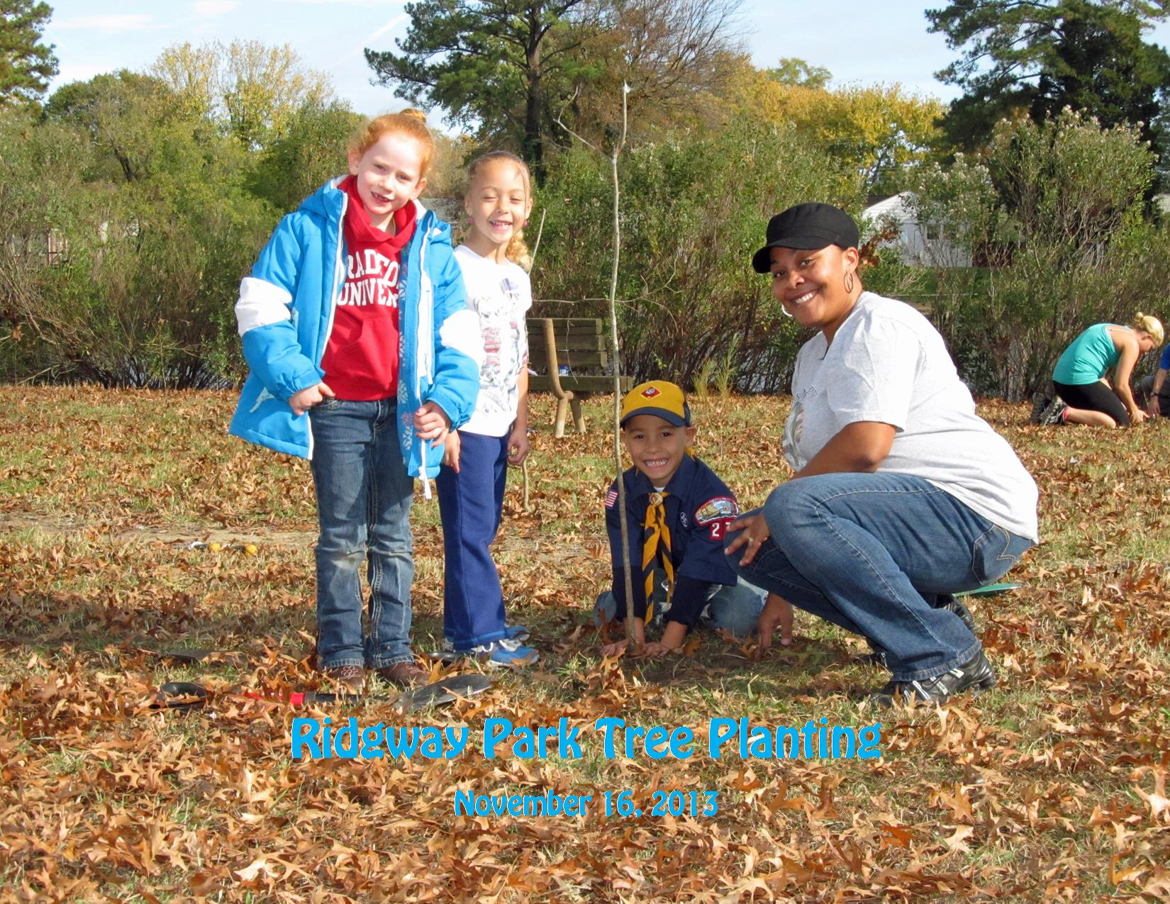 11-16-13 Ridgway Park Tree Planting Kids and Mom