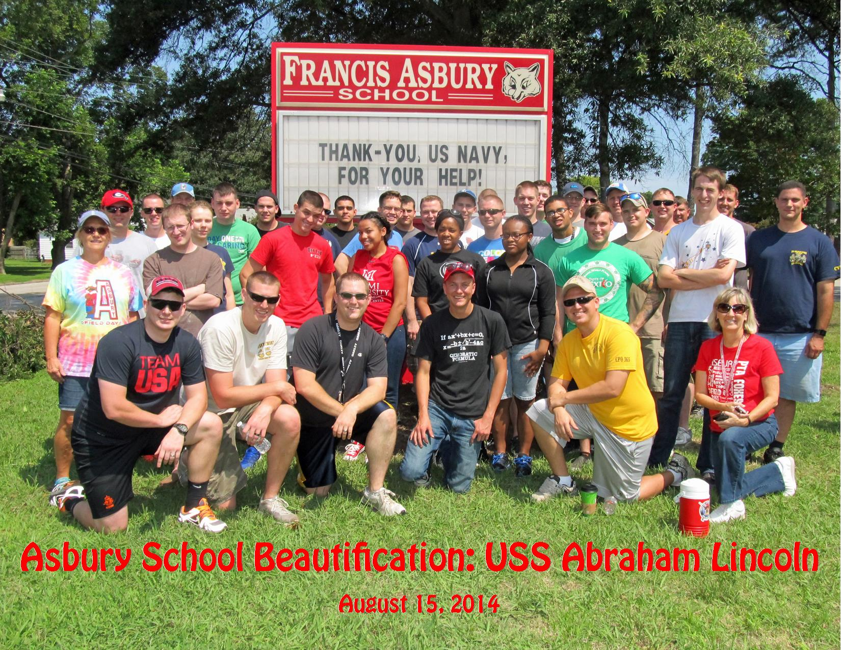 8-15-14 Asbury Beautification USS Abraham Lincoln