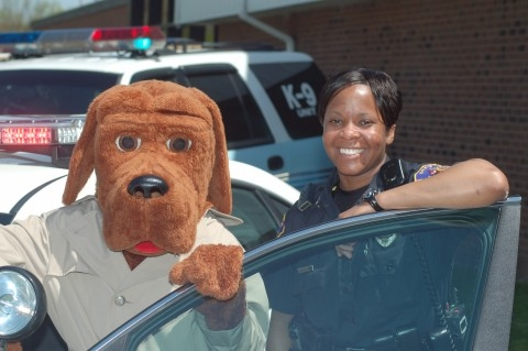 Mcgruff at car.JPG